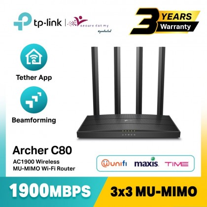 TP-Link Archer C80 AC1900 MU-MIMO Gigabit Wave2 Wireless WiFi Router With Beamforming (UniFi / Maxis Fiber / Time Fibre)
